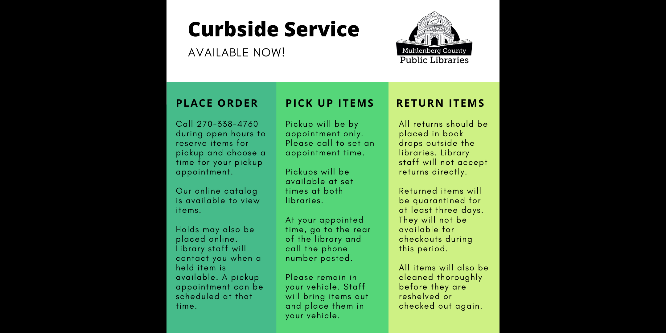 Curbside service available now!