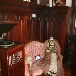 Vintage items and phonograph inside Thistle Cottage.
